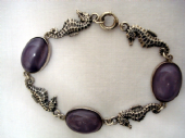 Vintage Sterling SIlver and Mauve Satin Glass Panel Bracelet with Seahorses